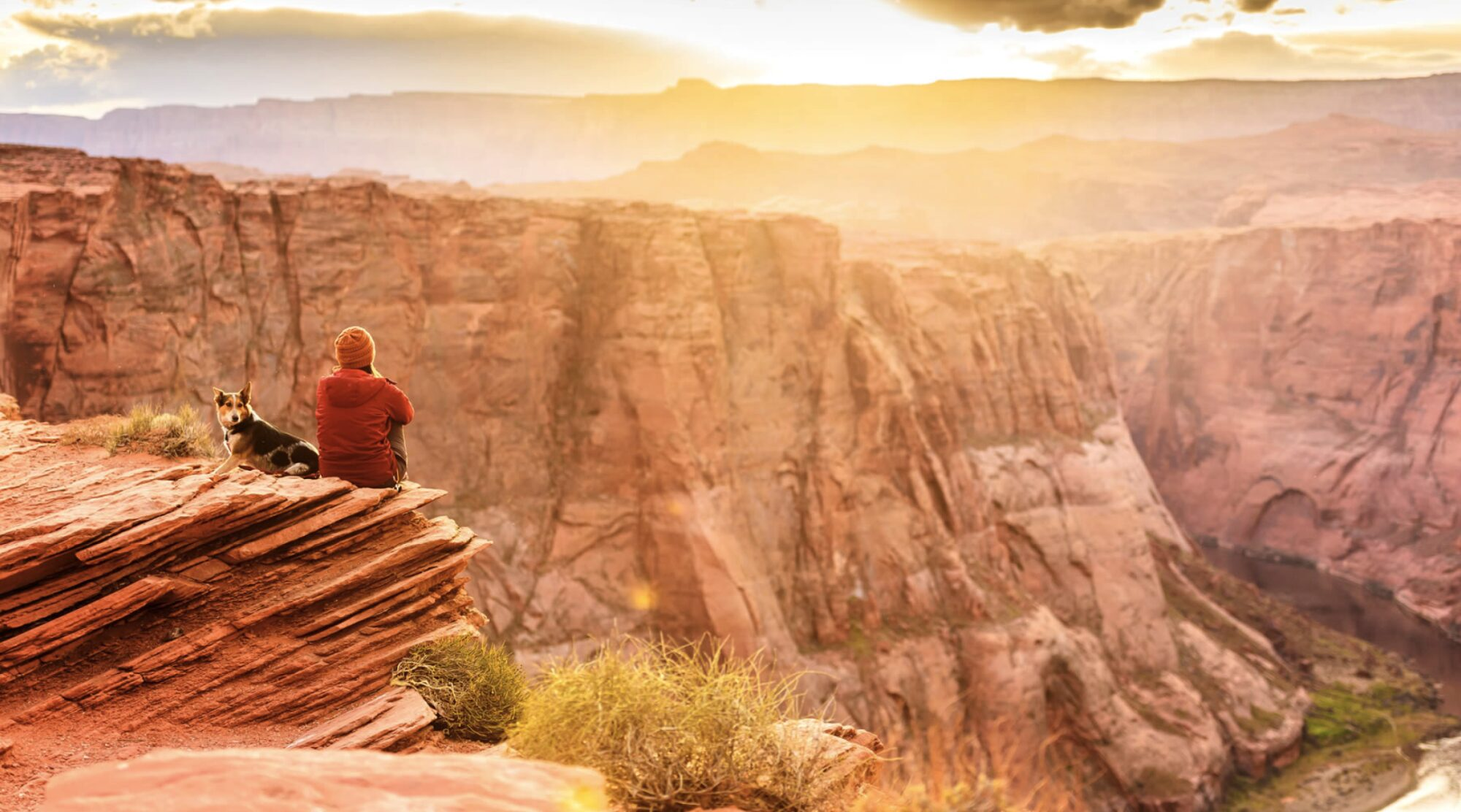 A woman and her dog look out over a canyon with a green valley floor and steep red cliffs either side