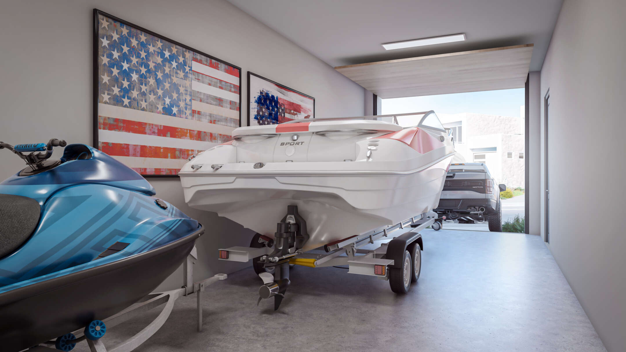 Interior view of deep garage with jet-ski, boat and truck